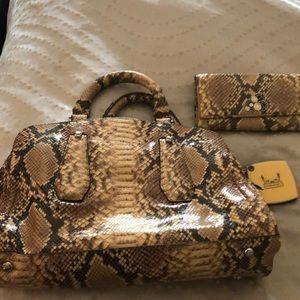 Henri Bendel snake skin purse and wallet.